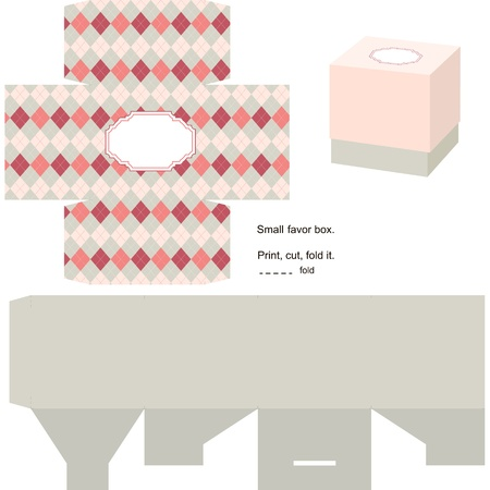 Favor box die cut. Classic geometric pattern. Empty label.  Vector