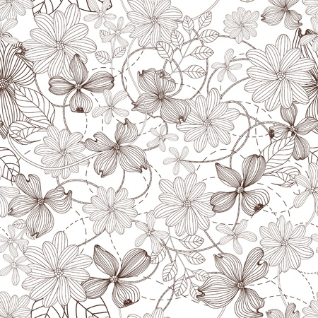 Abstract Nature Pattern with plants, flowers. Monochrome. Endless pattern can be used for wallpaper, pattern fills, web page background, surface textures.
