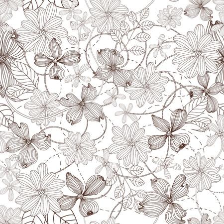 monochroom: Abstract Natuur Patroon met planten, bloemen. Zwart-wit. Endless patroon kan worden gebruikt voor behang, patroonvullingen, webpagina achtergrond, oppervlaktestructuren.