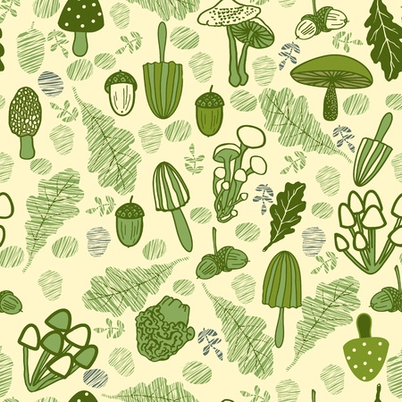 used items: Mushroom seamless pattern. Forest items. Can be used for wallpaper, background, fabrics. Marine, blue, white, grey colors.