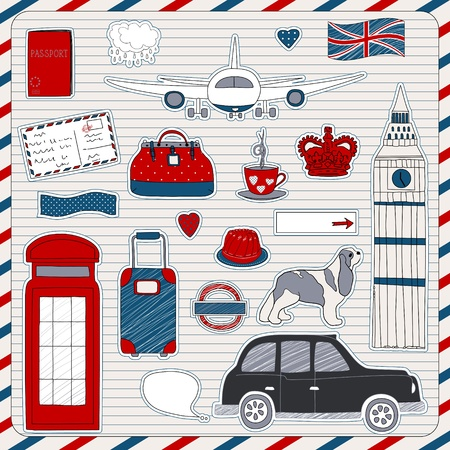 지하에: 낙서 스케치를 설정합니다. 런던 여행 테마.