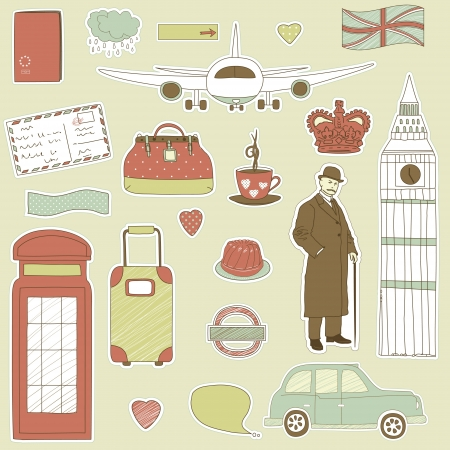 Set of the doodle sketches. London  travel theme.  Stock Vector - 12332307