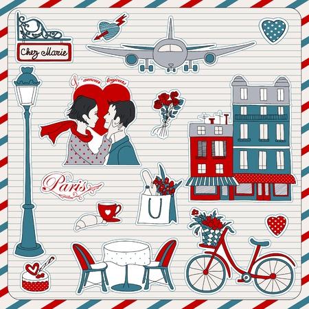 paris france: Set of the doodle sketches. Paris travel icons.