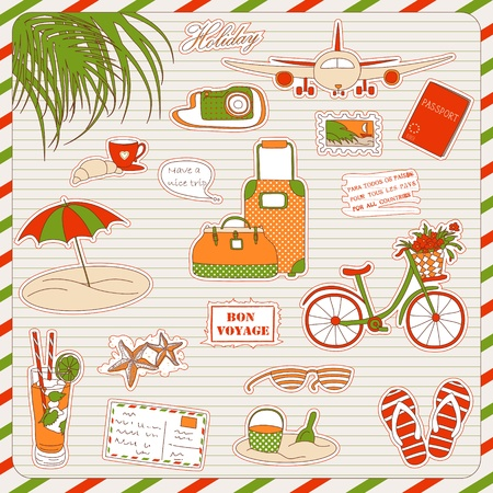 Set of the doodle sketches. Vacations travel icons.  Vector