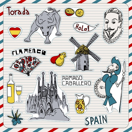 Reizen Spanje, doodles symbolen van Spanje.
