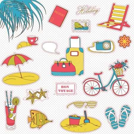 Set of the doodle sketches. Vacations travel icons.  Stock Vector - 12490732