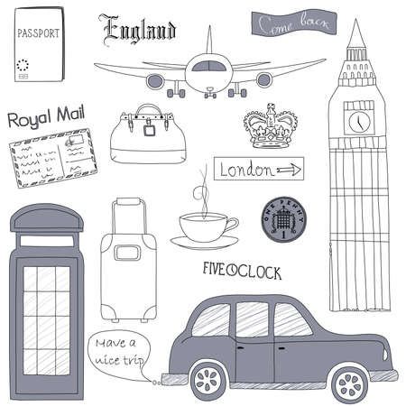 travel phone: Set of the doodle sketches. London  travel theme.