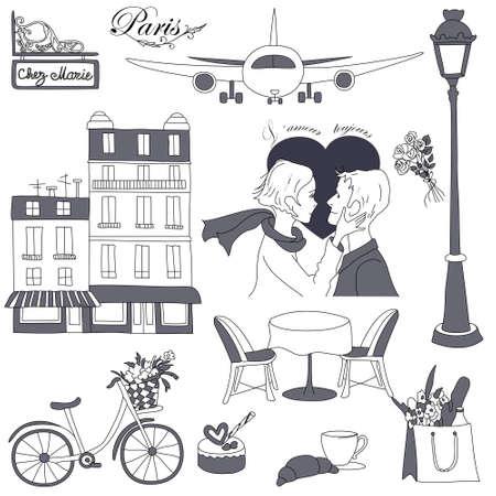 gateau: Impostare dei bozzetti scarabocchiare. Di viaggio per Parigi a tema. Vettoriali
