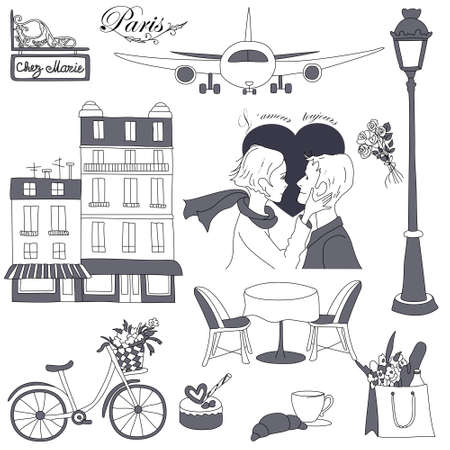 Set of the doodle sketches. Paris travel themed.  Stock Vector - 12490728