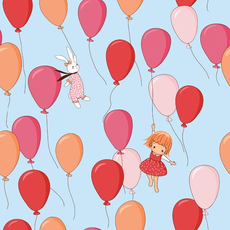 drawing on the fabric: Endless pattern. Bunny, girl, balloons. Can be used for wallpaper, pattern fills, web page background, surface textures. Illustration