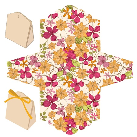 Favor box die cut. Floral pattern. Illustration