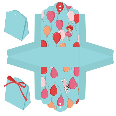 Gift box die cut. Balloons, bunny and girl pattern.  Vector