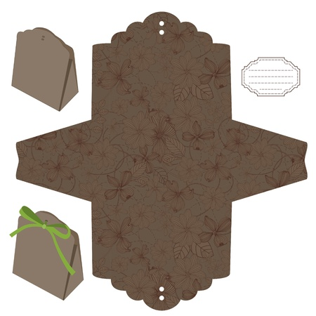 die cut: Favor box die cut. Floral pattern. Empty label.