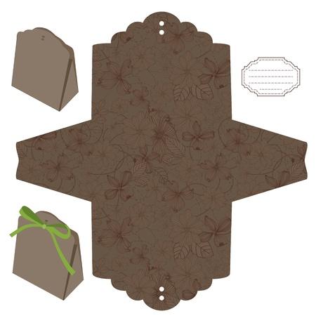 die: Favor box die cut. Floral pattern. Empty label.
