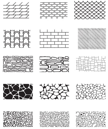 Collection of the building wall texture  Stone cladding, brick, roof, sidewalk, pavement  Endless pattern  Vector