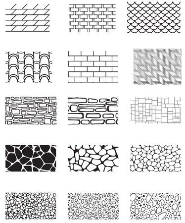 Sammlung der Gebäudewand Textur Steinverkleidung, Ziegel, Dach, Bürgersteig, Gehsteig Endless Muster Illustration