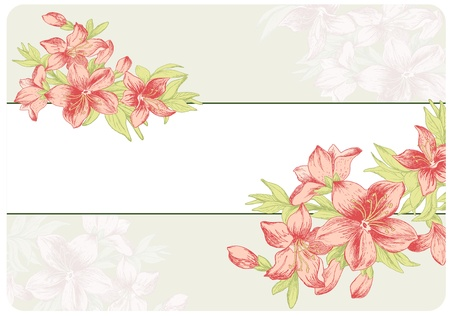 Floral ornament in baroque style. Hand drawn garden flowers. Vintage background.