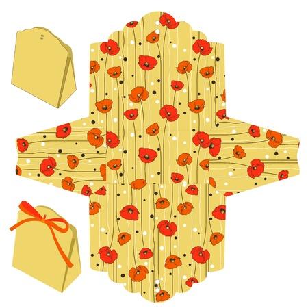 die cut: Favor box die cut. Red Poppy pattern.