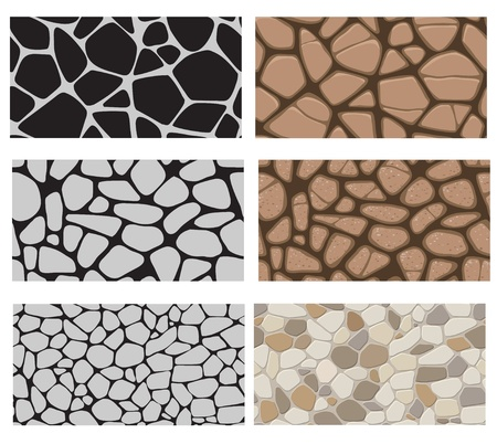 Collection of the building wall texture. Stone cladding, sidewalk, pavement. Endless pattern. Vector