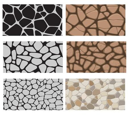 Recolección de la textura de la pared del edificio. Revestimiento de piedra, aceras, pavimento. Patrón sin fin. Ilustración de vector