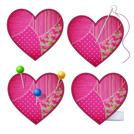 Patchwork hearts pierced with pins. Vector