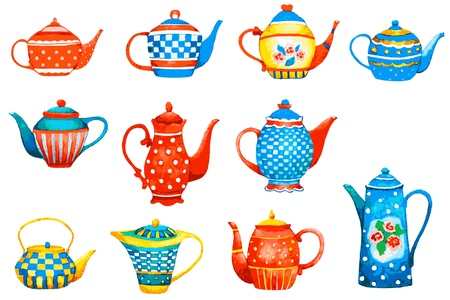teapot: Set of a teapots on white background. Illustration.   Illustration