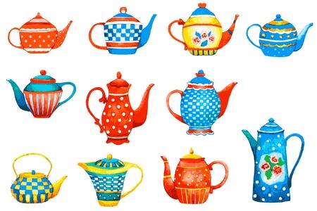 stilllife: Set of a teapots on white background. Illustration.   Illustration