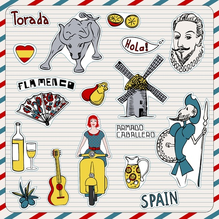 gaudi: Travel Spain, doodles symbols of Spain.