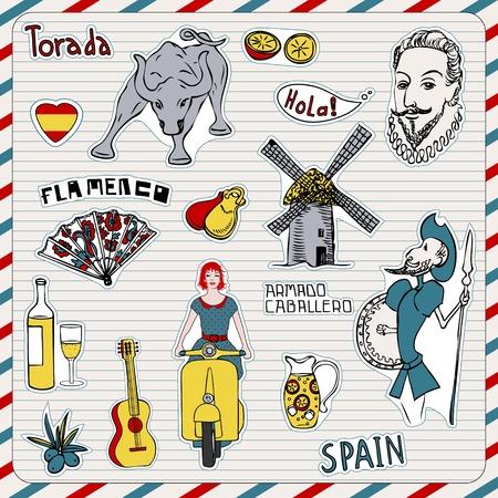 don quijote: Viajes España, garabatos símbolos de España.