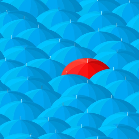 individuality: Umbrella endless pattern. Concept of the individuality, difference, outsider, solitude.