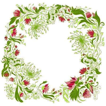 Groene ronde florale achtergrond. Abstract, natuur, illustratie.