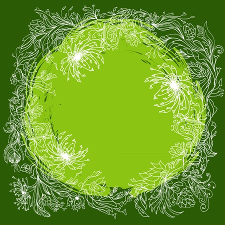Green round floral background. Abstract outline illustration. Vector