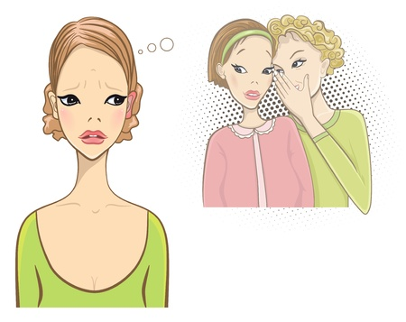 Superstition concept. Red and hot ears. Gossip girls. Vector