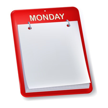 Blank calendar or to do sheet. Monday. Isolated.