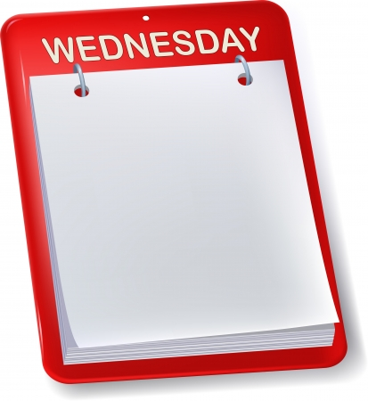 wednesday: Blank calendar or to do sheet. Wednesday. Isolated.