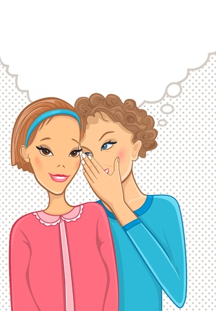 Two talking women. Girls secrets.   Vector
