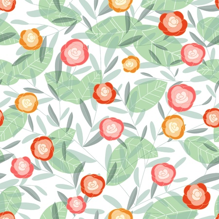 Abstract Nature Pattern with plants, flowers  Endless pattern can be used for wallpaper, pattern fills, web page background, surface textures   Vector