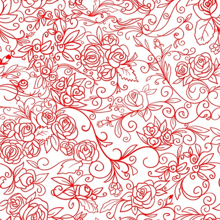 Abstract Nature Pattern with roses  Monochrome  Endless pattern can be used for wallpaper, pattern fills, web page background, surface textures   Vector