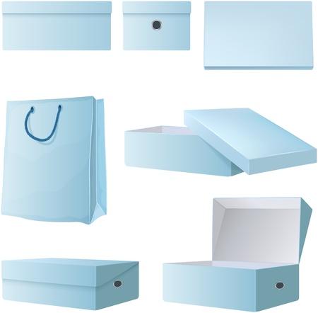 opened bag: Set of empty opened cardboard boxes and shopping bag  Designer templates  Isolated on white background  Illustration
