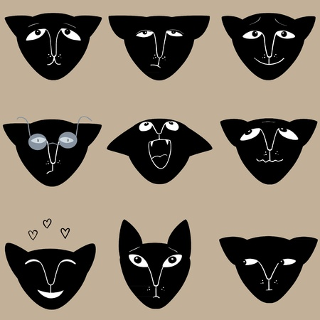 pounce: Black cats expression collection.  Illustration