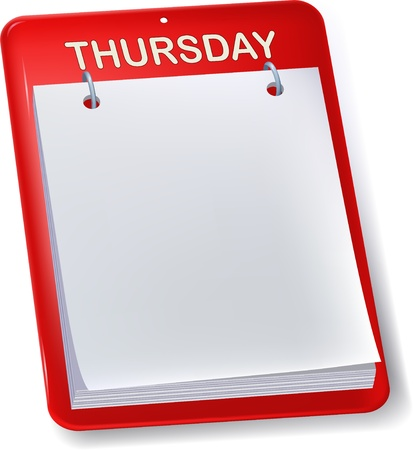 thursday: Blank calendar. Thursday. Empty sheet. Isolated.