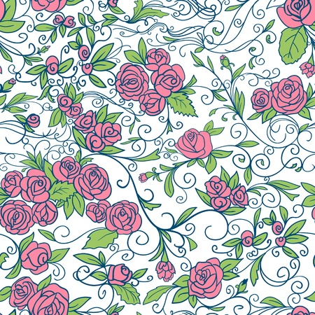 Abstract Nature Pattern with roses  Endless pattern can be used for wallpaper, pattern fills, web page background, surface textures   Vector