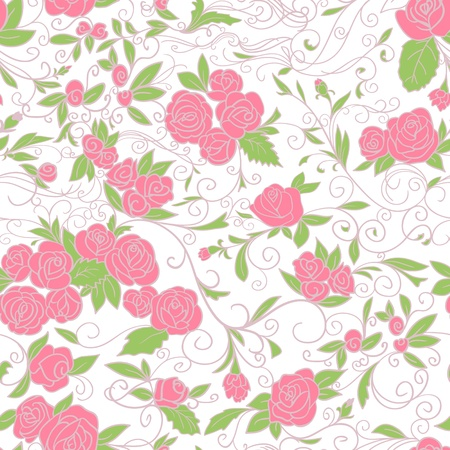 rose tree: Abstract Nature Pattern with roses  Endless pattern can be used for wallpaper, pattern fills, web page background, surface textures   Illustration