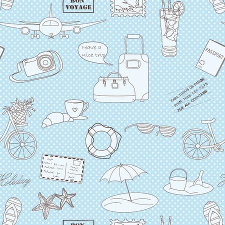 Urlaub Reise Hintergrund Endless Muster für Tapeten verwendet werden können, Musterfüllungen, Web-Seite Hintergrund, Oberflächenstrukturen Illustration