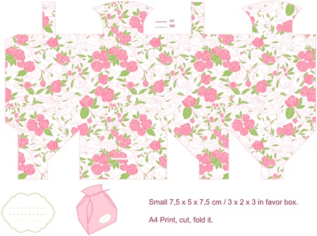 cube box: Favor box die cut  Floral pattern  Blank label   Illustration