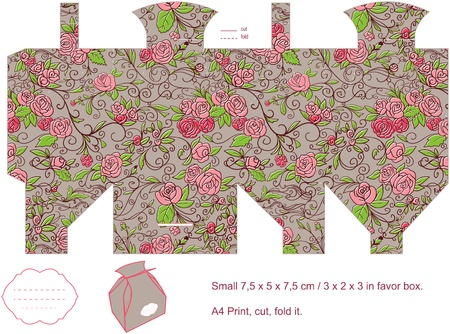 Favor box die cut  Floral pattern  Empty label   Vector