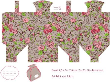 square cut: Favor box die cut  Floral pattern  Empty label