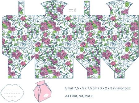 Favor box die cut  Floral pattern  Empty label Stock Vector - 13345197