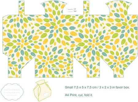 Favor box die cut  Foliage pattern  Empty label   Vector