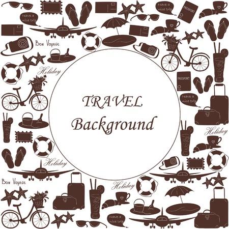 Reise-Hintergrund mit Symbolen und leeren Raum Illustration